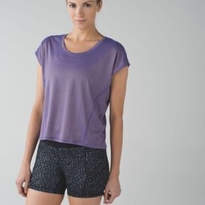 Lululemon Metallic Sweaty or Not Cut Out Tee Shirt
